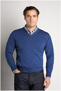 Woll-Pullover mit V-Ausschnitt von Plusman