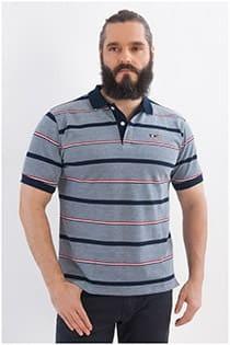 Gestreiftes Piqué-Poloshirt mit kurzen Ärmeln von Plusman.