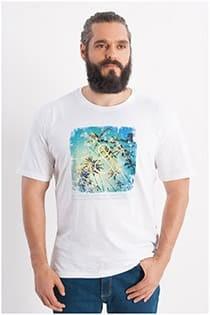 Redfield T-Shirt mit Palmen-Aufdruck.