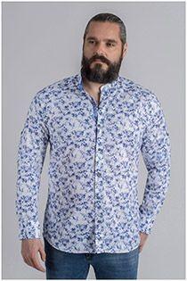 Langarmhemd mit Allover-Print von Plusman