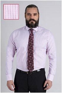 Extra lang gestreiftes Dresshemd von Plusman