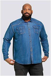 Langarm-Jeansoberhemd im Westernstil von D555.