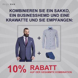 10% Rabatt auf der Kombination Sakko, Businesshemd, Krawatte.
